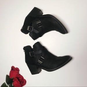 Black Cutout Chunky Heel  booties